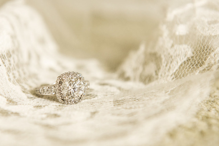 Bride's Wedding Engagement Ring Detail on Lace