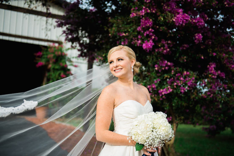 Bridal Wedding Portrait in White Galina by David's Bridal Strapless Sweetheart Wedding Dress with Baby's Breath and Hydrangea Bouquet | Michele Renee The Studio Wedding Makeup Artist | Tampa Wedding Photographer Kera Photography