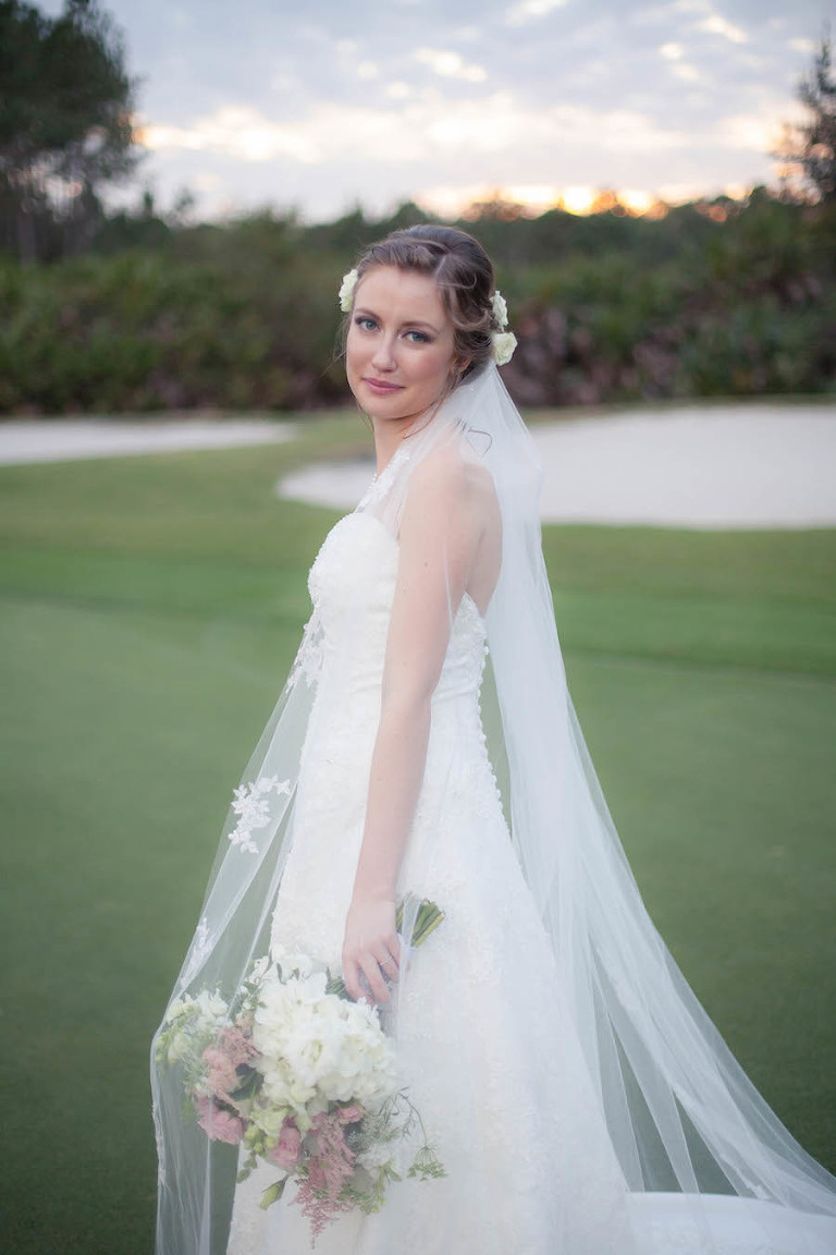 Bridal Wedding Portrait in Ivory Alfred Angelo Wedding Dress with Lace Overlay and Ivory and Pink Floral Wedding Bouquet with Roses and Hydrangeas | Tampa Wedding Floral Designer Northside Florist | Tampa Country Club Wedding Venue Hunter's Green Country Club