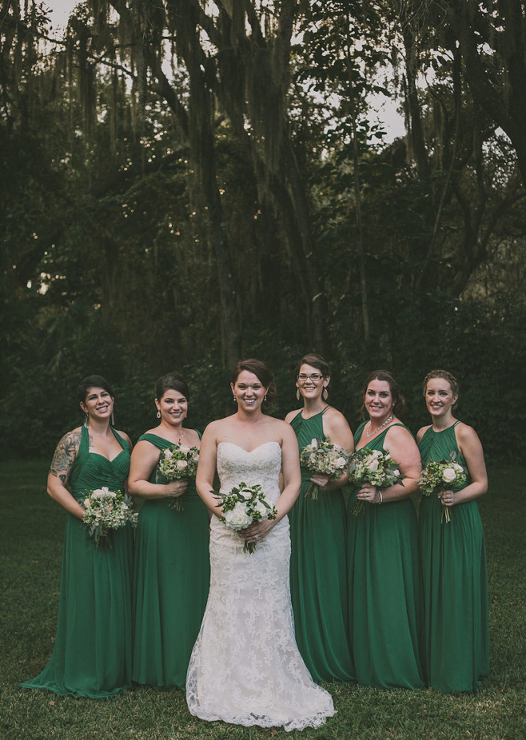 Outdoor, Bridal Party Portrait with Ivory, Lace Strapless Wedding Dress and Emerald Green Bridesmaids Dresses | Tampa Bridesmaids Dresses Bella Bridesmaid