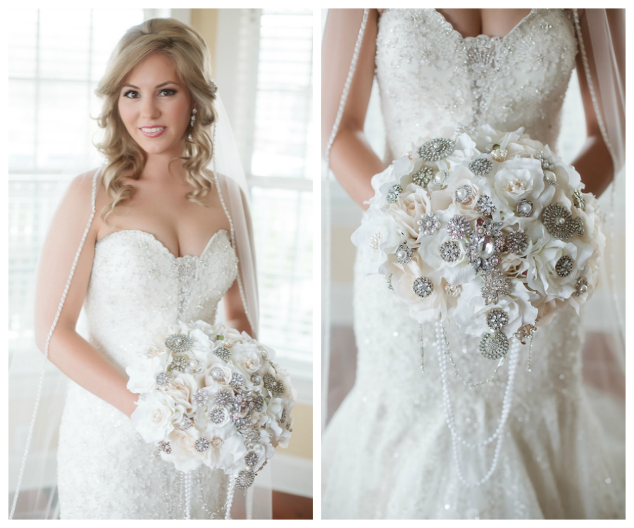 Bridal Wedding Portrait In Ivory Allure Couture Lace Wedding Dress
