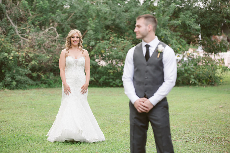 Florida Bride and Groom First Look Wedding Portrait | Allure Couture Ivory Lace Trumpet Wedding Dress