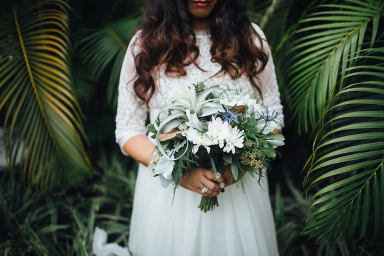 Tampa, Outdoor Bridal Wedding Portrait in Lace, Bohemian Style Wedding Dress | Isabel O'Neil Bridal Collection| Greenery and White Floral Bridal Bouquet | Tampa Wedding Florist Florist Fire