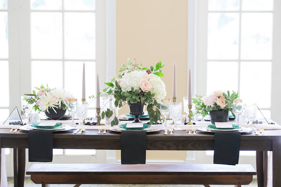 Ivory, White Rose and Blush Pink Wedding Centerpieces with Black Vase and Modern Geometric Shaped Triangle Pyramid with Blackberries on Wooden Farm Table   Tampa Wedding Decor Ever After Vintage Rentals
