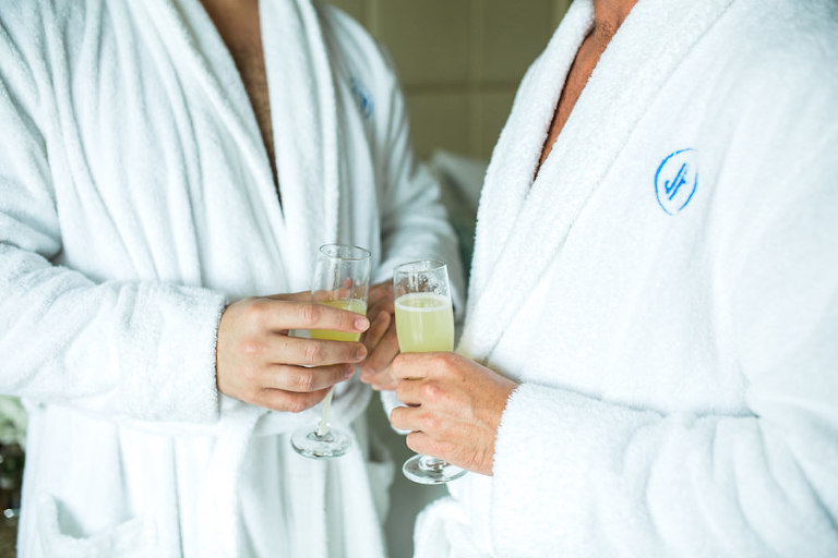 Gay St Petersburg Florida Wedding | Grooms Getting Ready with Robes and Champagne