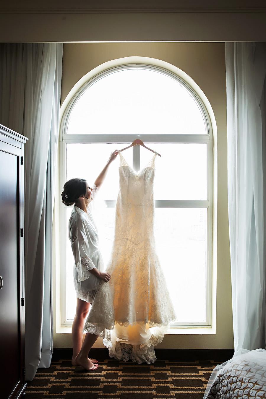 Getting Ready: Bride with White, Ivory, Lace Romona Keveza Wedding Dress | Tampa Wedding Dress Shop Isabel O'Neil Bridal | Tampa Wedding Photographer Limelight Photography