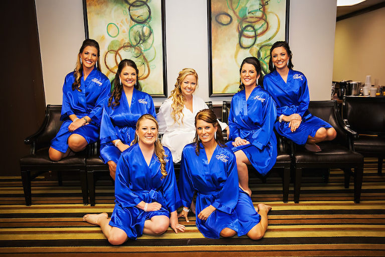 Bridal Party Getting Ready with Personalized Royal Blue Satin Bathrobes | Clearwater Wedding Photographer Limelight Photography