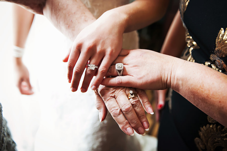 Generational Wedding Ring Hand Picture with Mom, Bride and Grandmother | Tampa Wedding Photographer Limelight Photography