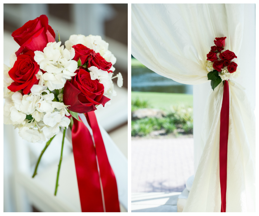 Red and White Tampa Wedding Ceremony Flowers