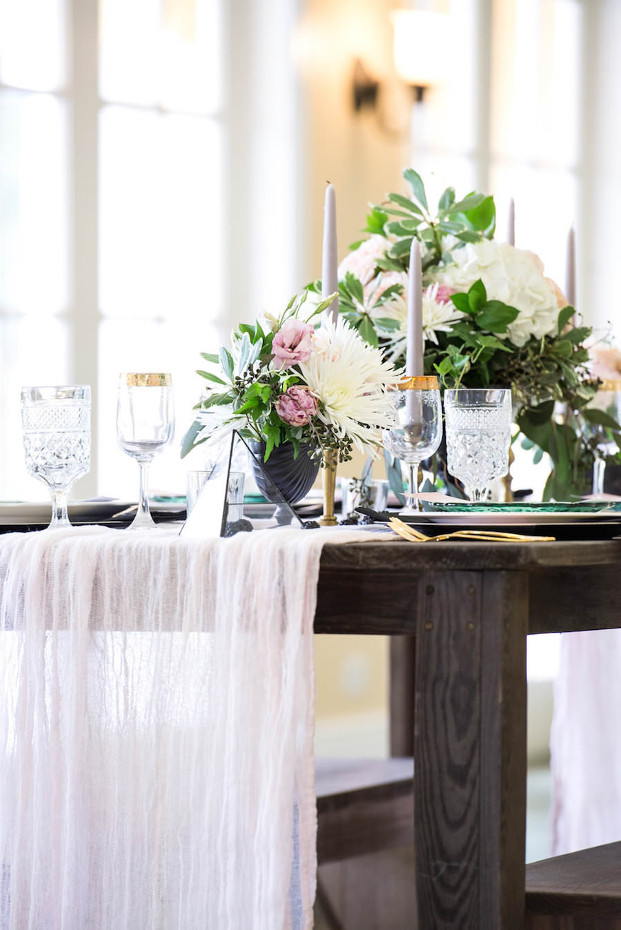 Ivory, White Rose and Blush Pink Wedding Centerpieces with Flowy ...