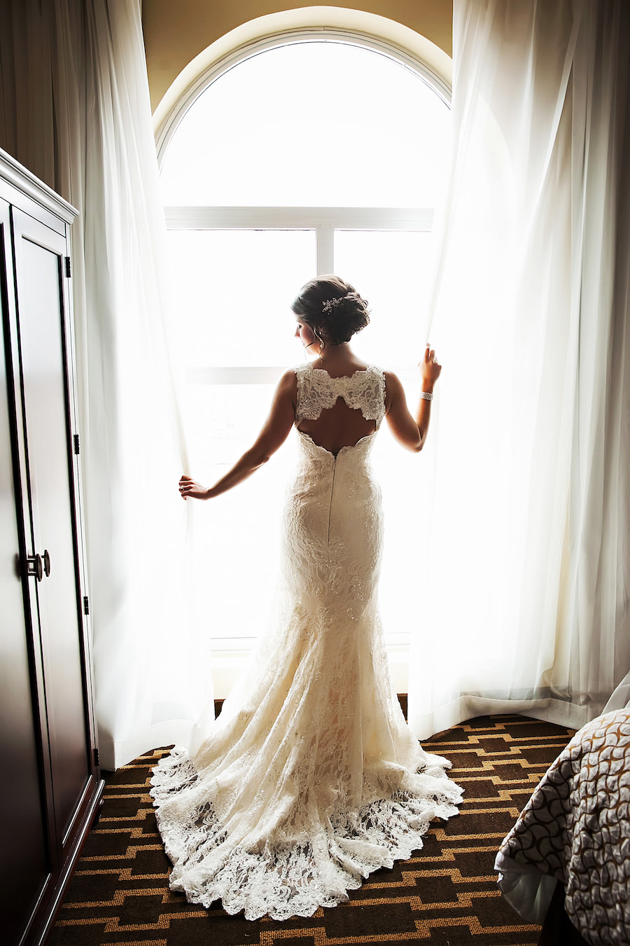 Bridal Wedding Portrait in Ivory, Lace Romona Keveza Wedding Dress | Tampa Wedding Dress Shop Isabel O'Neil Bridal | Tampa Wedding Photographer Limelight Photography