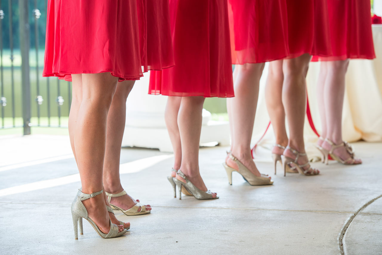 Bridesmaids in Red Tes Length Bridesmaids Dresses and Silver Wedding Heels