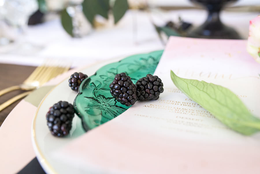 Gold and Green Vintage China Charger with Blackberry Fruit Decor   Tampa Wedding Decor Ever After Vintage Rentals