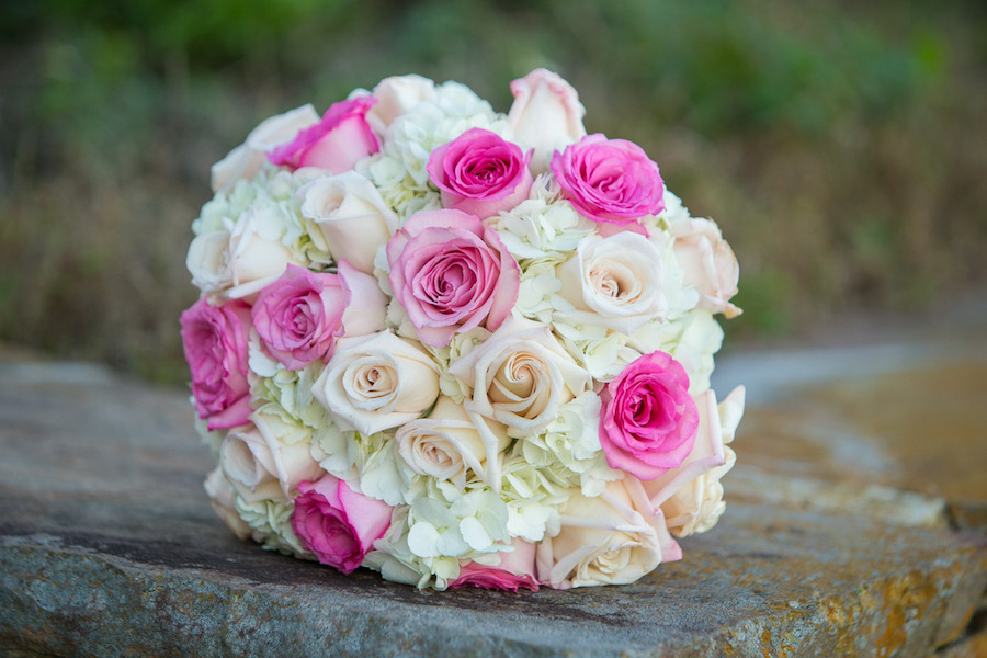 Pink and White Bridal Bouquet Of Roses and Hydrangeas | St . Pete Wedding Florist Iza's Flowers