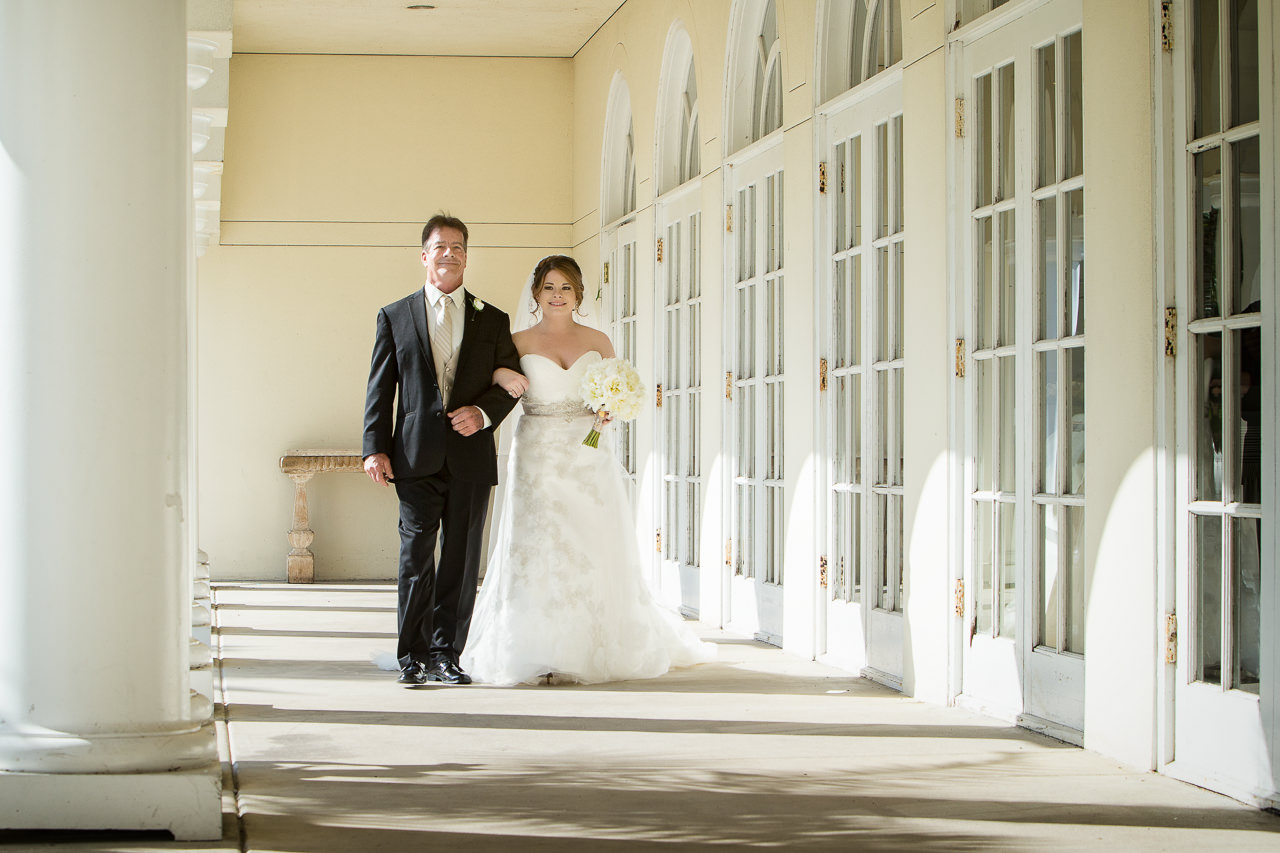 Bride and Dad Walking Down the Aisle at Tampa Wedding Ceremony | Tampa Wedding Venue Tampa Palms Golf and Country Club