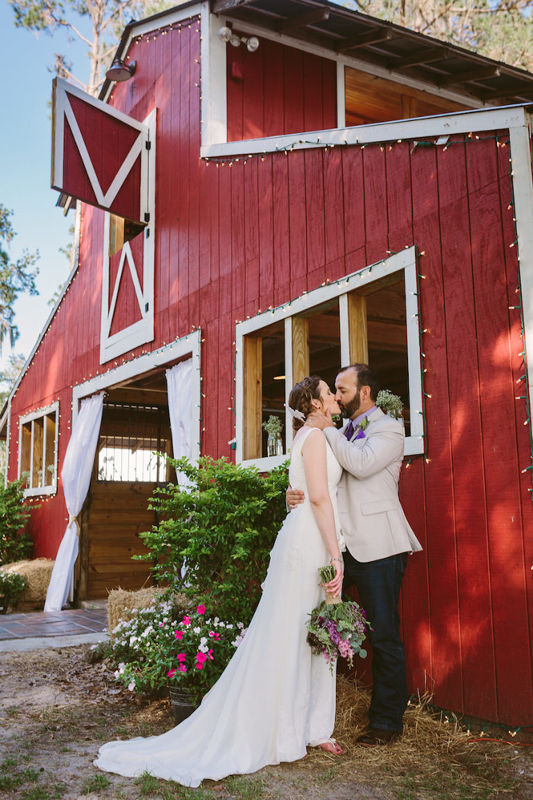 Outdoor, Rustic Bride and Groom Wedding Portrait | Tampa Bay Wedding Venue The Barn at Crescent Lake | Old McMicky's Farm