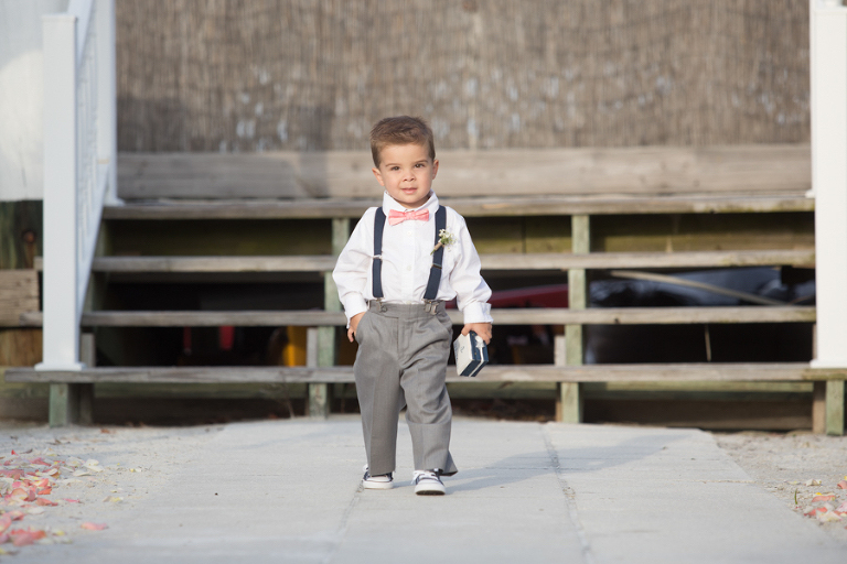 Nautical Inspired Wedding Theme Ring Bearer Ideas | Pink Bowtie with Navy Suspenders