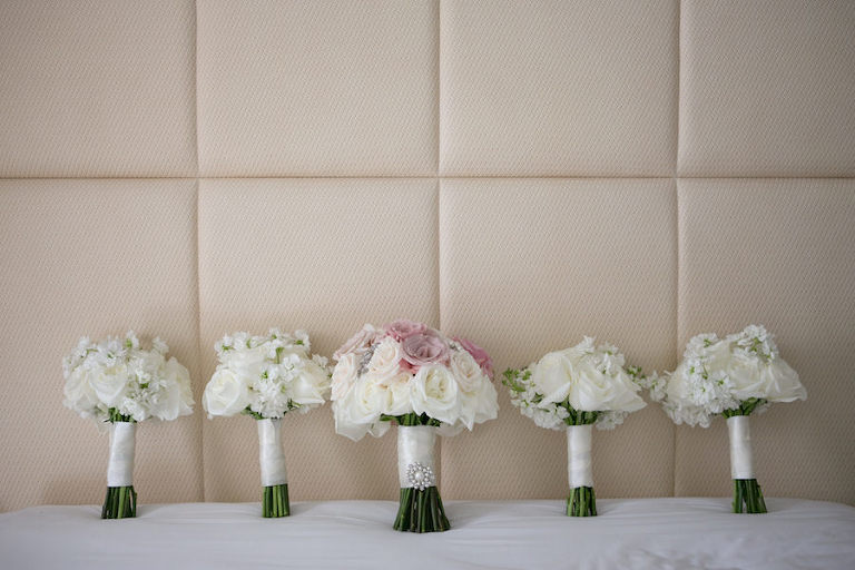 Ivory and Blush Rose Wedding Bouquets with White Satin Stems and Brooch Detail | St. Petersburg Wedding Photograper Carrie Wildes Photography
