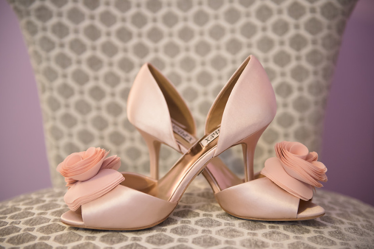 Pink, Blush, Badgley Mischka Wedding Shoes with Rosette Detail