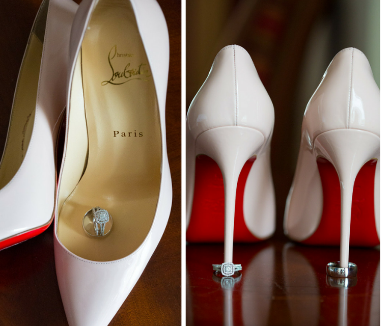 Bride and Groom Wedding and Engagement Ring Portrait with Blush Christian Louboutin Stilettos | Tampa Bay Wedding Photographer Jeff Mason Photography