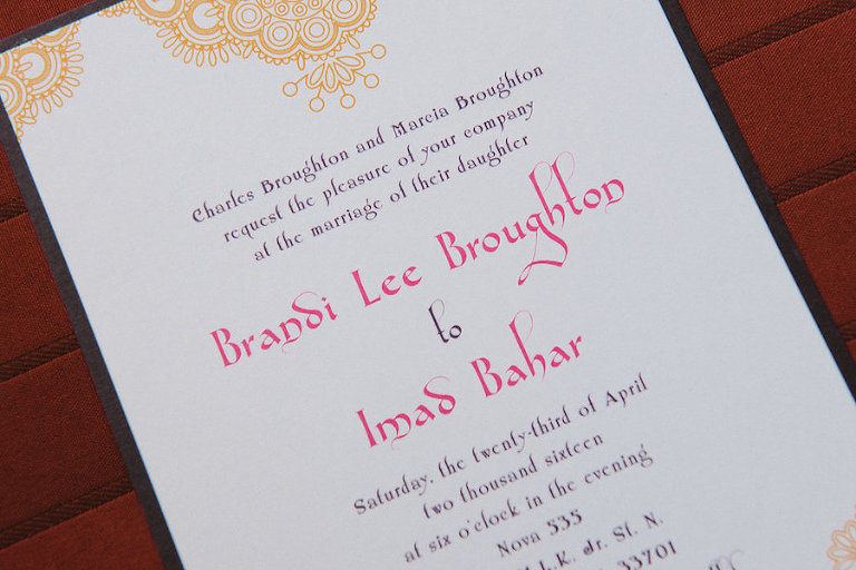 Gold, Pink and Purple Wedding Invitation | Moroccan Arabic Theme Wedding Invitation