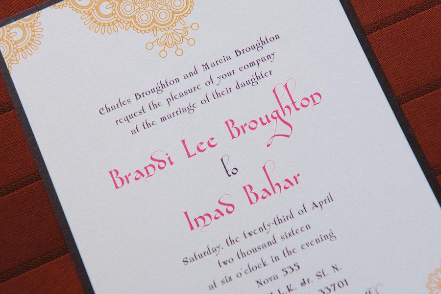 Gold, Pink and Purple Wedding Invitation | Moroccan Arabic Theme Wedding Invitation
