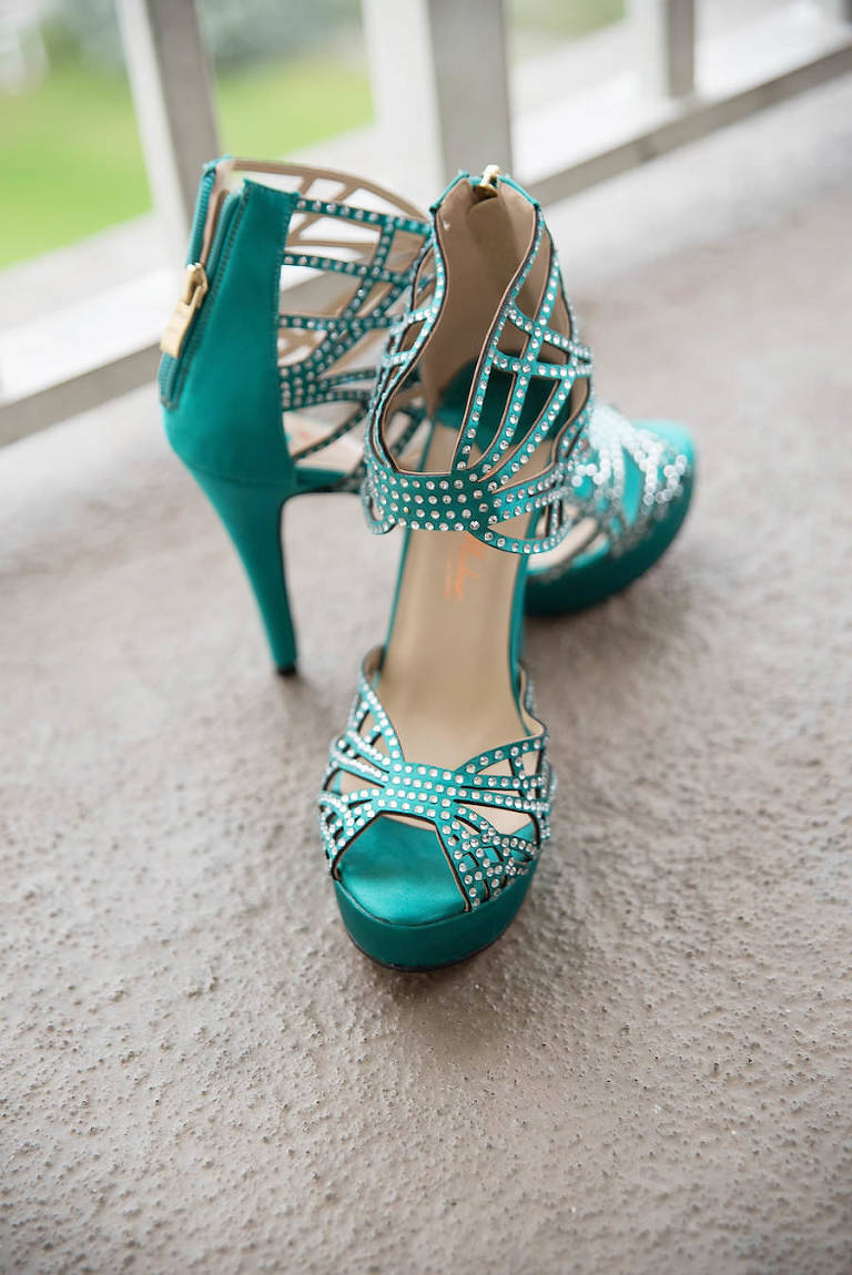 Teal Green Open Toe Strappy Wedding Shoes