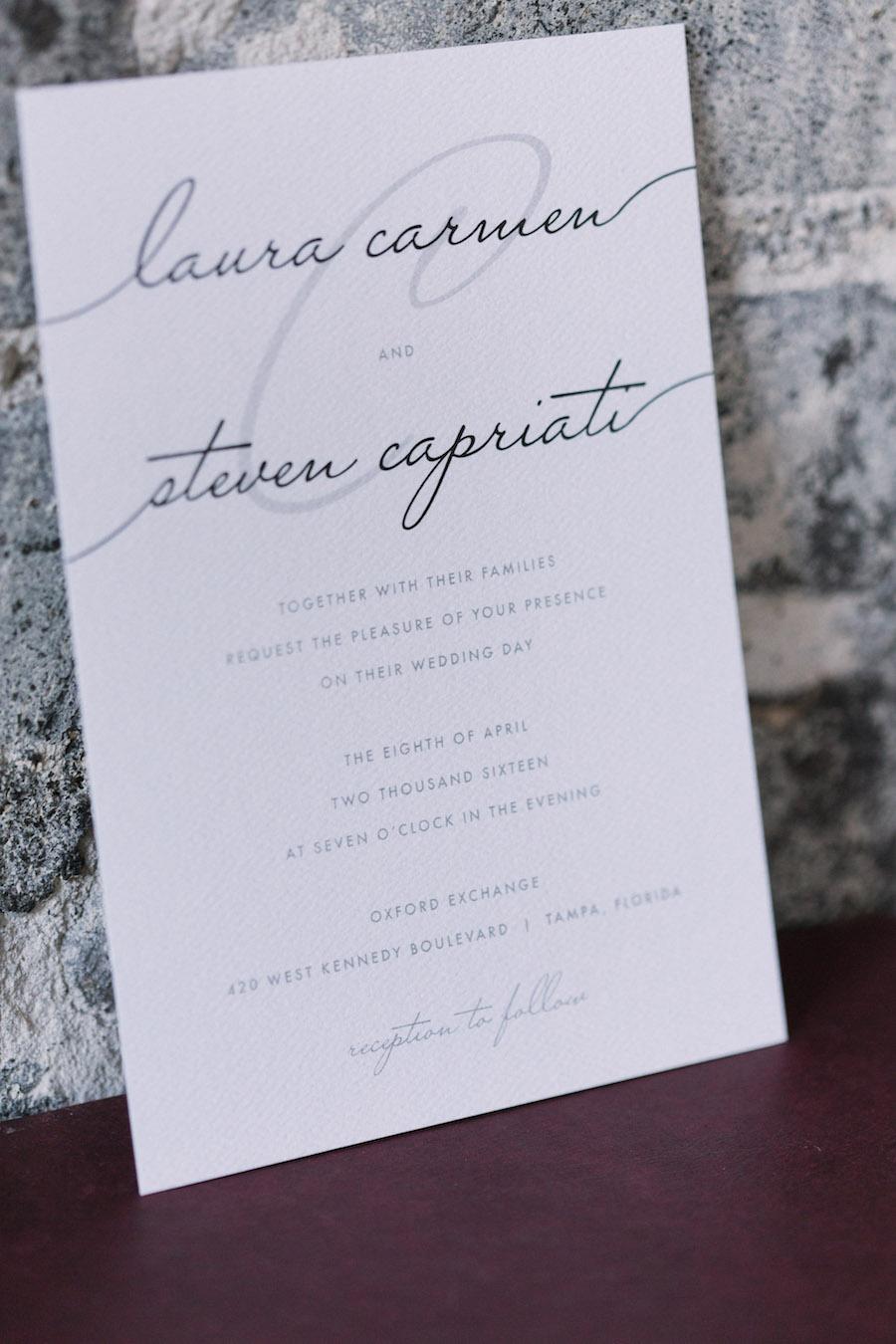 Elegant Black and White Wedding Invitation Stationery with Calligraphy