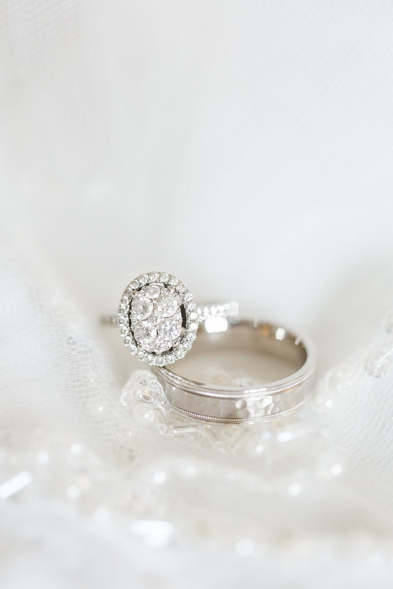 Oval Shaped Wedding Engagement Ring and Band Detail on Veil Portrait