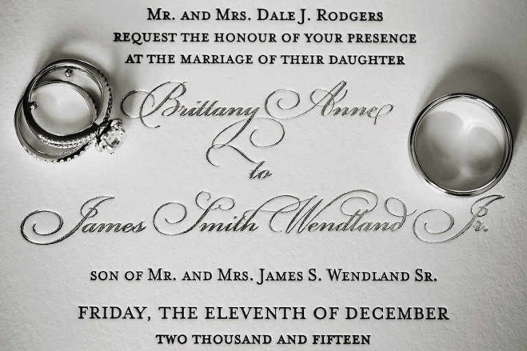 Elegant White and Silver Wedding Invitation with Wedding Rings | St Petersburg Florida Wedding Photographer Limelight Photography