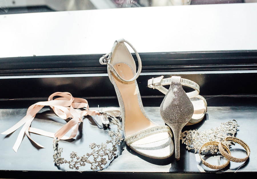 Silver Open Toed Wedding Shoes and Jewelry