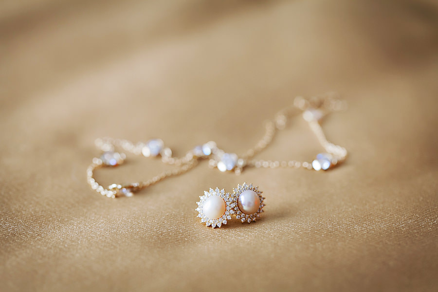 Bridal Jewelry: Pearl Stud Earrings with Diamond Accent and Matching Necklace   Tampa Wedding Photographer Limelight Photography