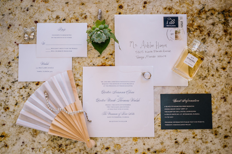 Elegant White and Navy Wedding Invitation Suite Details