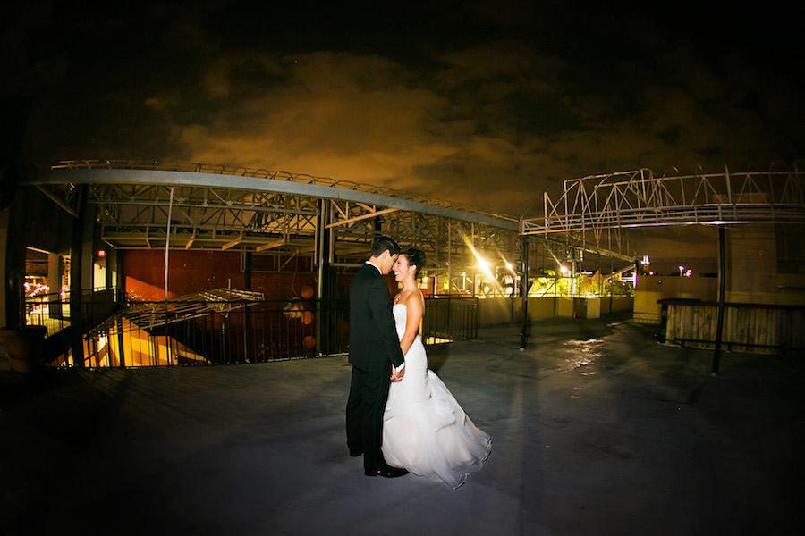Outdoor, Nighttime Bride and Groom Wedding  Tampa Wedding Photographer Limelight Photography