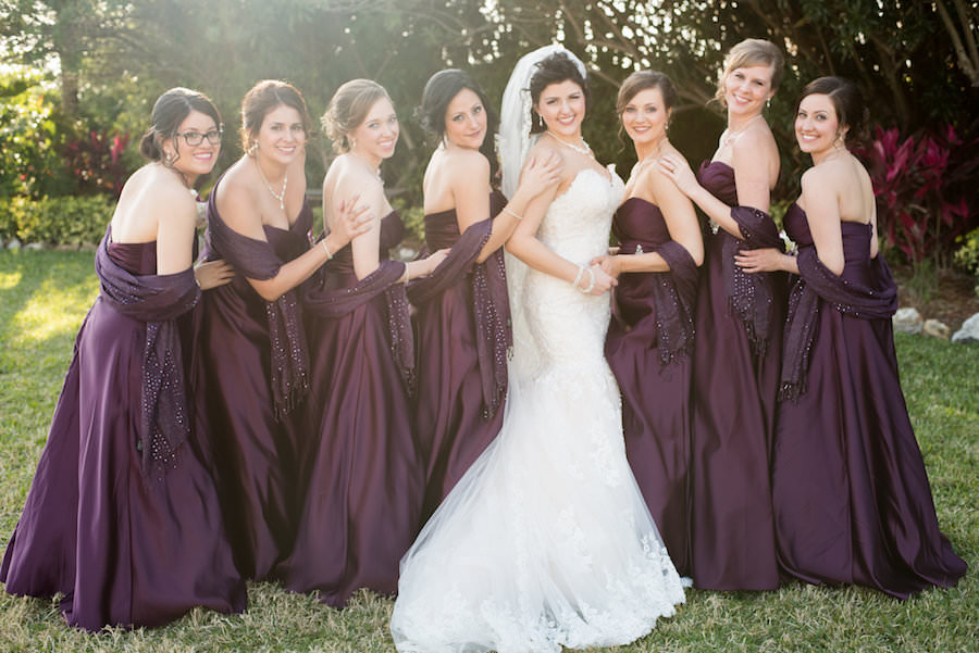 Tampa Bridal Party Portrait in Purple Bridesmaids Dresses and Ivory, Strapless Wedding Dress   Tampa Wedding Photographers Caroline and Evan Photography