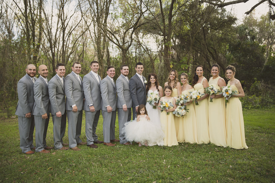 Yellow and Gray Wedding   Bridal Party Wedding Portrait with Yellow Bill Levkoff Bridesmaids Dresses and Ivory, Strapless Allure Lace Wedding Dress with White and Yellow Wedding Bouquet with Greenery   Sarasota Wedding Florist Andrea Layne Floral Design