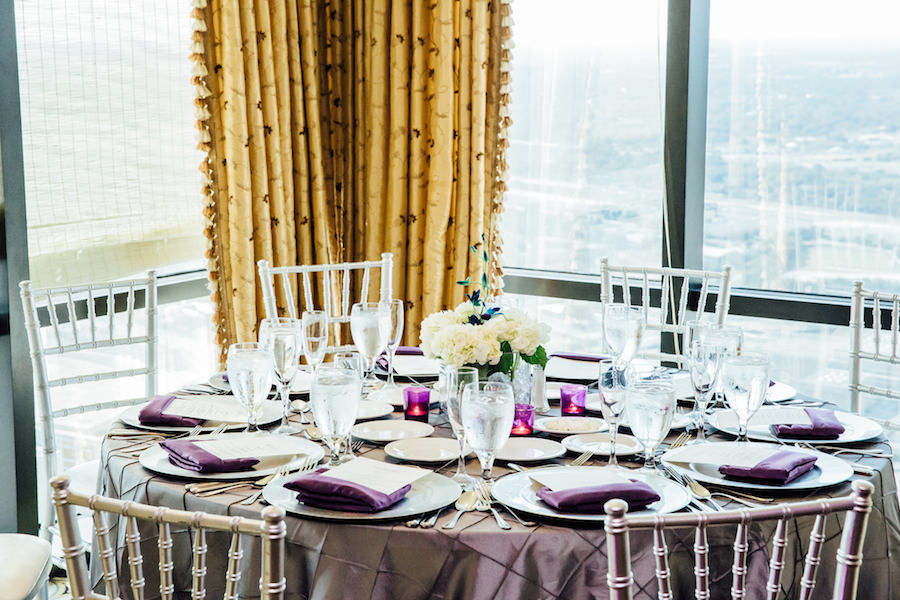 Silver and Purple Wedding Reception with Chiavari Chairs and Pintuck Linens   Downtown Tampa Wedding Venue The Tampa Club