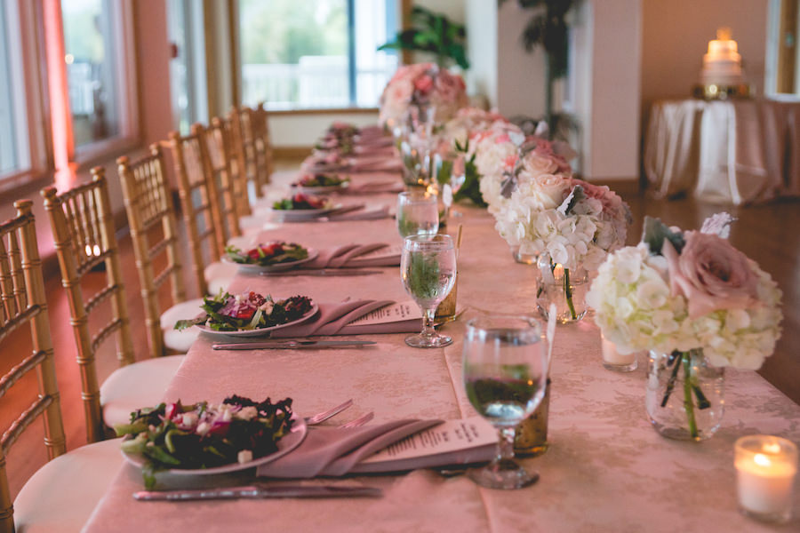 Wedding Reception Long Feasting Table Decor With Pink And Ivory