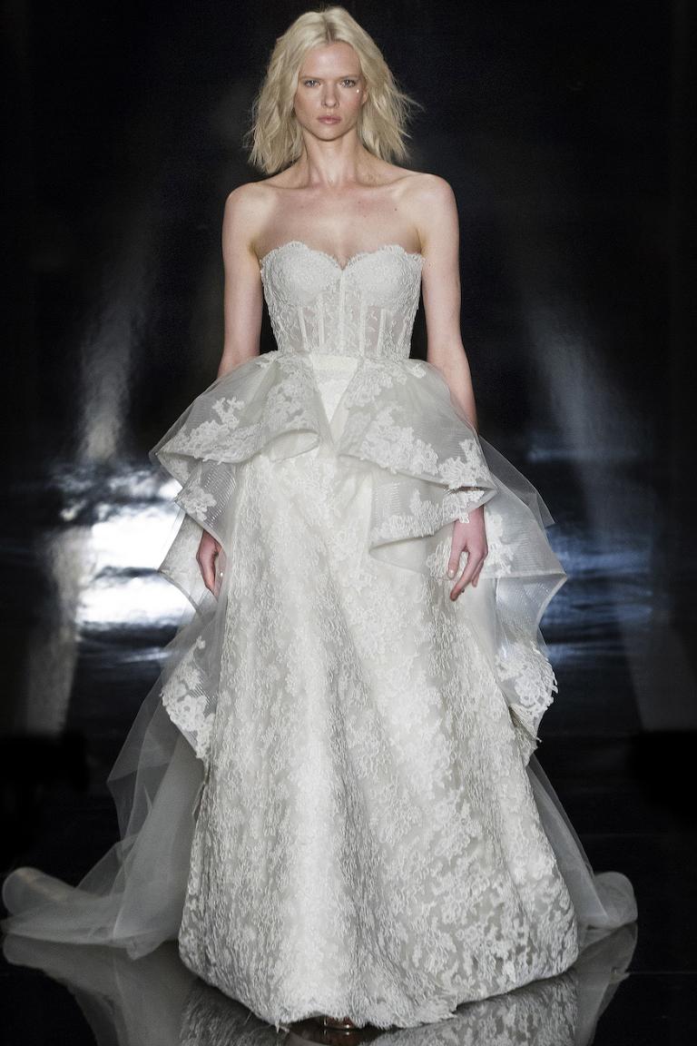 """Adrianna"" Wedding Dress by Reem Acra with detachable ""Paulina"" overskirt | Spring 2017 Bridal Market Look"