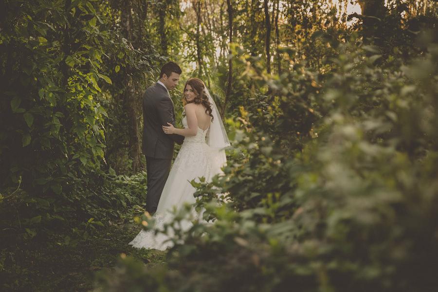 Bride and Groom In Woods Outdoor Wedding Portrait   Rustic Sarasota Wedding