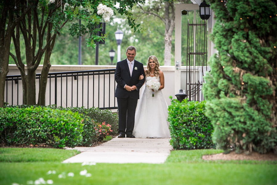 Bride and Father Walking Down The Aisle Wedding Portrait | Tampa Outdoor Wedding Ceremony Venue The Palmetto Club | Tampa Bay Wedding Photographer Jeff Mason Photography