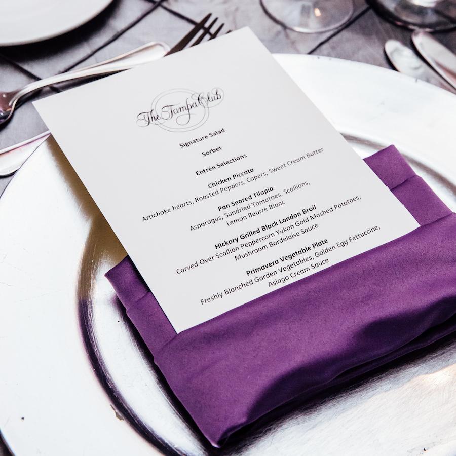 Silver Charger, Purple Napkin and Tampa Club Wedding Menu