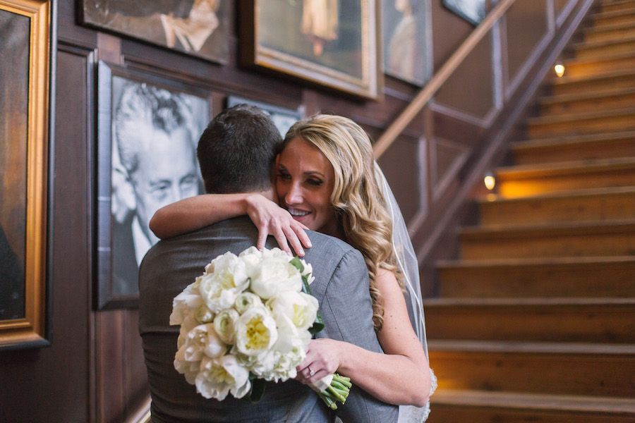 Bride and Groom First Look on Wedding Day   South Tampa Modern, Vintage Wedding Venue Oxford Exchange