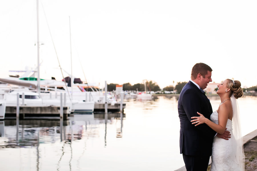 Outdoor, Florida Waterfront Bride and Groom Wedding Portrait By Marina | St. Petersburg Wedding Photographer Limelight Photography