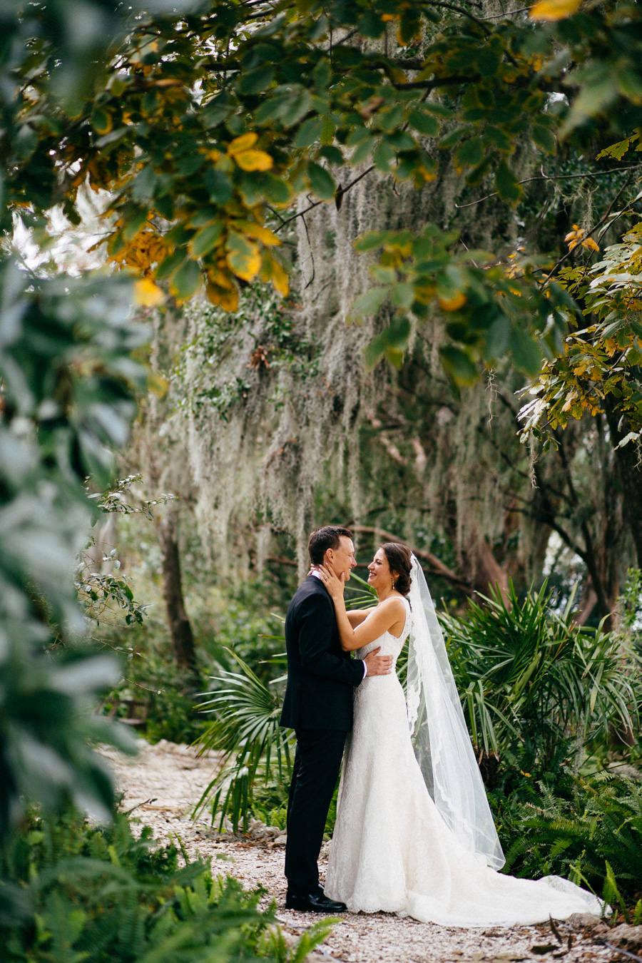 Outdoor, Bride and Groom Wedding Portrait at Sarasota Wedding Venue Marie Selby Gardens