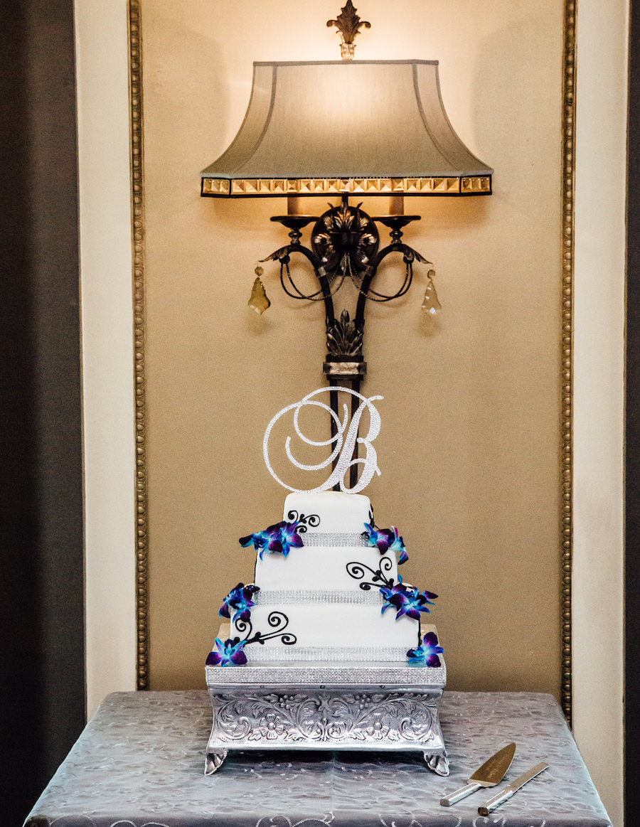 3-Tier White Square Wedding Cake with Purple Orchids and Rhinestone Bling Initial Cake Topper   Tampa Wedding Cake Baker Decorator Trudy Melissa Cakes