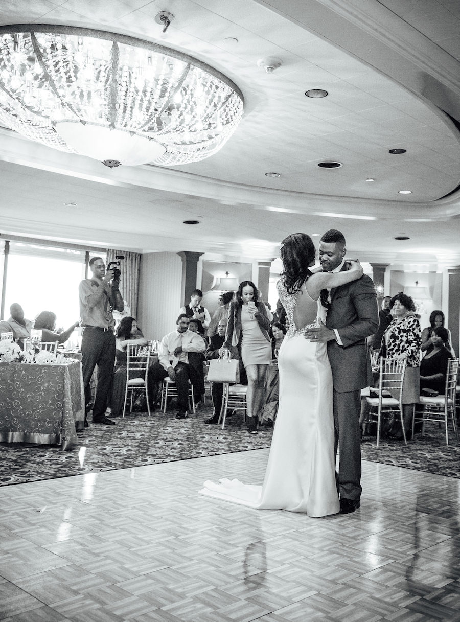 Bride and Groom Wedding Portrait with Beaded Demetrios Bride Wedding Dress First Dance   Downtown Tampa Wedding Venue The Tampa Club