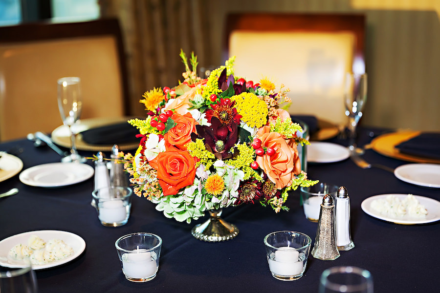 Downtown Tampa Wedding Reception Décor with Fall Inspired Floral Centerpieces and Black Linens   Tampa Wedding Photographer Limelight Photography
