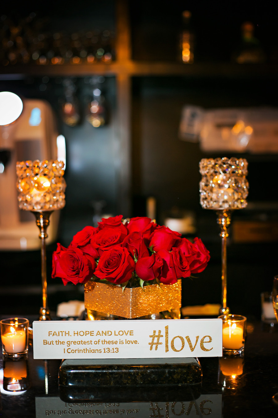 Tampa Wedding Reception Table Decor with Candlelight and Red Rose Centerpiece   Tampa Wedding Photographer Limelight Photography