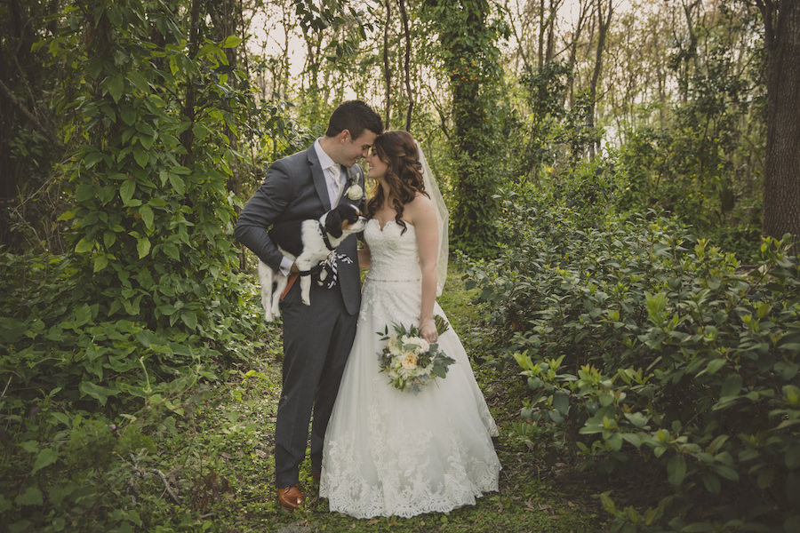 Bride and Groom In Woods Outdoor Wedding Portrait with Dog   Rustic Sarasota Wedding